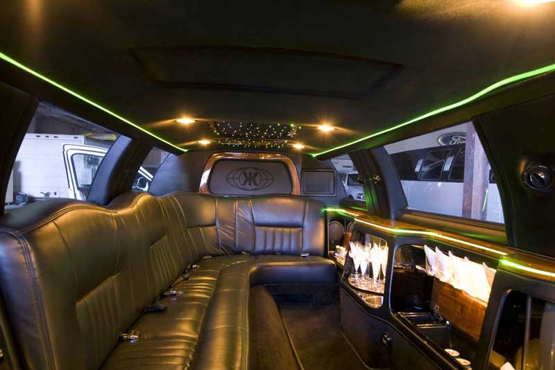 White Ten Passenger Stretch Limousine's Interior