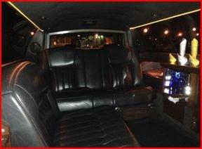 Black Eight Passenger Stretch Limo Interior
